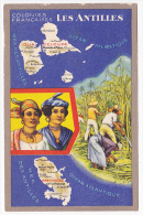 """Carte Illustrée Format CPA - Colonies Françaises """"Les Antilles"""" Texte Au Verso - Publicité Produits Du Lion Noir - Publicités"""