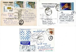 Romania, 2006-2008, Lot Of 3 Circulated Postcards - Chess By Correspondence - Romania