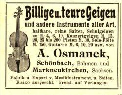 Original-Werbung/ Anzeige 1908 - MUSIKINSTRUMENTE/ GEIGEN OSMANEK - SCHÖNBACH (BÖHMEN) / MARKNEUKIRCHEN - Ca. 55 X 40 Mm - Publicités