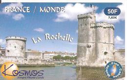 CARTE-PREPAYEE-KOSMOS- 50F -7,62€-TOURS DU PORT DE LA ROCHELLE-2200ex-10/01-T BE- - Andere Voorafbetaalde Kaarten