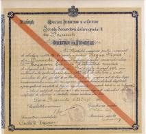 """Romania, 1923, Vintage Graduation Certificate / Diploma - """"Regina Maria"""" School, Bucuresti - Diplomas Y Calificaciones Escolares"""