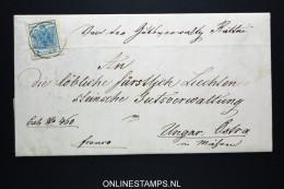 Österreich: 1856 Complete Letter  To Ungarn : Ostra / Lundenburg  Mi Nr 5 Fürstliche Liechtensteinische Gutsverwaltung - 1850-1918 Imperium