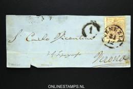 Lombardei Und Venetien: Front Of Letter Venezia To Verona, 30 Cents - 1850-1918 Imperium