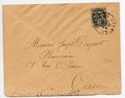 1920 - ENVELOPPE De CAEN (CALVADOS) Avec 1c TYPE BLANC - 1877-1920: Semi Modern Period