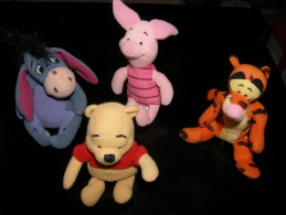 DISNEY WINNIE THE POOH - LOT 4 PELUCHES JEMINI - TAILLE ENVIRON 15 CM - VOIR PHOTOS - Disney