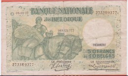 BELGIQUE - TRESORERIE - 50 Francs 10 Belgas Du 08 01 1937 - [ 6] Treasury