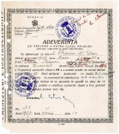 Romania, 1937, Vintage Graduation Certificate / Diploma - Boys School No. 30, Bucuresti - Diplomas Y Calificaciones Escolares