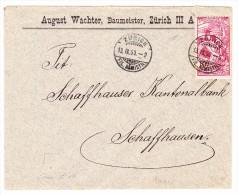 Schweiz UPU 10Rp. Auf  13.09.1900 Zürich Auf Brief Nach Schaffhausen - 1882-1906 Armoiries, Helvetia Debout & UPU