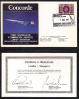 CONCORDE - AVIATION / 1977 PREMIER VOL LONDRES - SINGAPOUR - ENVELOPPE ILLUSTREE (ref 6947) - Concorde
