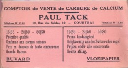 Buvard Vloeipapier - Pub Reclame Vente De Carbure Paul Tack - Courtrai - Kortrijk - Buvards, Protège-cahiers Illustrés