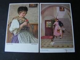 == 2 Alte Kunstkarten  Sign Wisniowski Und  K.Gebhardt   , Kl. Mängel  Ca. 1913 - Peintures & Tableaux