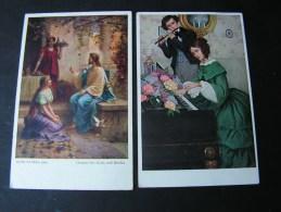 == 2 Alte Kunstkarten   M,M,Vienne 378 Munk Und  Hnas Zatzka   Ca, 1916 - Peintures & Tableaux
