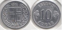 Islanda 10 Aurar 1971 Km#10a - Used - Islande
