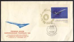 TUPOLEV 144 - CONCORDE - AVIATION / 1977 PREMIER  VOL ALMA ATA - MOSCOU - ENVELOPPE ILLUSTREE (ref 6954) - Concorde