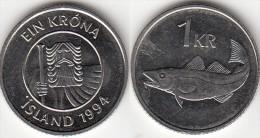 Islanda 1 Króna 1994 Km#27a - Used - Islanda