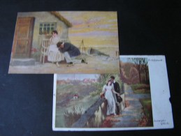 == 2 Alte Kunstkarten Borrmeister Und Eichstedt , Klebemängekl. Ca. 1918 Rödelheim - Peintures & Tableaux