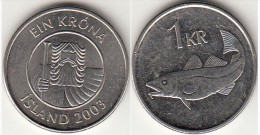 Islanda 1 Króna 2003 Km#27a - Used - Islanda