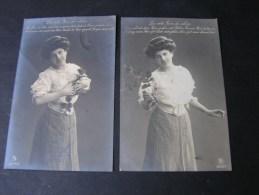 == Ueberruhr Essen , 2 Alte Foto AK  Frau Mit Rosen Poesie 1910 - Photographs