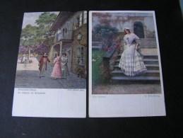 == 2 Gemäldekarten  Schuster Und Riedel  Ca. 1915 - Peintures & Tableaux