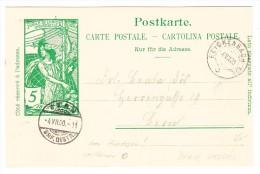 Schweiz UPU 5Rp. Ganzsache (Verschobener Druck)  4.7.1900 Reichenbach Nach Bern - 1882-1906 Armoiries, Helvetia Debout & UPU