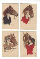 ( Ill. Italien , Style Proche De Nanni, Lot 7 Cartes, Charme, Mode, Chevaux ( Cheval, Hippisme, Marianne Phrygien ) - Ilustradores & Fotógrafos