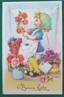 Litho Illustrateur GOUGEON GOLO Gold Fille Fillette Foulard Sabots Marchande De Fleurs Bouquet Pot Vase Etal - Gougeon