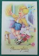 Litho Illustrateur GOUGEON GOLO Gold Enfant Garcon Apportant Fleurs Bouquet Pour Fete - Gougeon