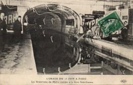 75 PARIS Métro . Les Souterrains  Du Métro Inondés à La Gare St-Lazare Orage Du 15 Juin - Métro Parisien, Gares