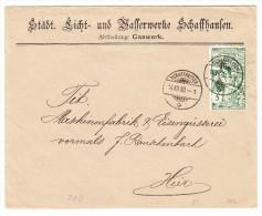 Schweiz 5Rp. UPU Zu.#77B 14.7.1900 Schaffhausenauf Ortsbrief Vom Gaswerk - 1882-1906 Armoiries, Helvetia Debout & UPU