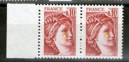 Paire N° 1965**_Oeil Voilé Tenant Normal_perfos Défectueuses_liseré Phospho Sur Effigie - Varieteiten: 1970-79 Postfris