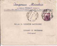 MACCHIA, AUTOSERVIZI, PAVULLO, MODENA, BUSTA COMMERCIALE VIAGGIATA 1950, LIZZANO BELVEDERE,BOLOGNA,AL VERSO LINEE PULMAN - Publicidad