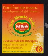 # PINEAPPLE DEL MONTE SIZE 6 BACK MODIFIED Fruit Tag Balise Etiqueta Anhanger Costa Rica Ananas Pina - Fruits & Vegetables