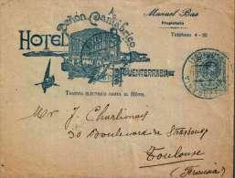 F-EX 600 SPAIN ESPAÑA OLD  COVER HOTEL PEÑON CANTABRICO PUENTERRABIA 1921 - Espagne