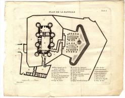ARCHITECTURE   PLAN DE LA  BASTILLE   PLANCHE  GRAVURE  LITHOGRAPHIE XVIII°  XIX° - Architectuur