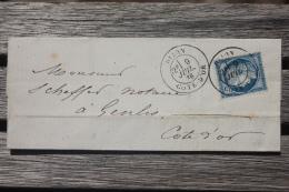 Lettre Affranchie France N°60 Pour Genlis Oblitération Cachet à Date Type 18 Dijon - 1849-1876: Période Classique