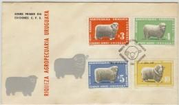LBL33/B -URUGUAY FDC RIQUEZA AGROPECUARIA 5 AVRIL 1967 THÈME MOUTONS LAINE - Uruguay