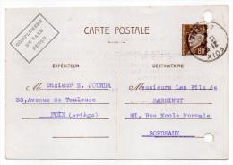 CP Pétain--Type Lemagny 80c Brun-rouge Sur N°CP 383--Complément Taxe Perçu-cachet FOIX Du 12-6-1942 - Entiers Postaux