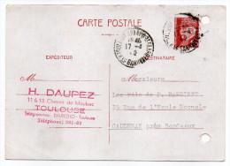 CP Pétain--Type Lemagny 1f20 Brun-rouge Sur Blanc--cachet Rond Toulouse Arnaud Bernard Du 17-4-1942 - Entiers Postaux