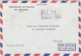 LBL33/B - UNION OF BURMA LETTRE AVION RECOMMANDÉE AMBASSADE DE FRANCE POUR PARIS FEV.1976 - Myanmar (Burma 1948-...)