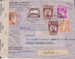 G)1944 PERU, COAT OF ARMS, MAP-TORIBIO DE LUZURIAGA-POPULAR REST.-INDUSTRIAL BANK.-DAM, ICA RIVER, AIRMAIL, CIRCULATED R - Peru