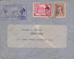 G)1938 PERU, LUFTHANSA PRIMER VUELO LINEA DIRECTA PURPLE SEAL, CIRCULATED FFC TO GERMANY, XF - Peru