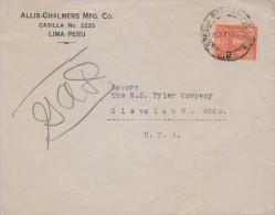 G)1927 PERU, LEGUIA 10 C., CIRCULAR LIMA CANC., CIRCULATED COVER TO USA, XF - Peru