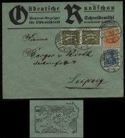 S2860 DR Infla MiF Auf Firmen Briefumschlag Ostdeutsche Rundschau: Gebraucht Schneidemühl Posen Polen - Leipzig 1921 , - Alemania