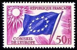 France - Timbre De Service N°   21 ** Conseil De L Europe - 50frs Lilas-rose Et Outremer - Neufs