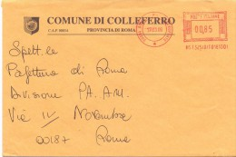 COLLEFERRO - 00034 ROMA - CAMPIONE FOTOGRAFICO  DI 17 - 12X18 - TEMA TOPIC COMUNI D´ITALIA - STORIA POSTALE - Affrancature Meccaniche Rosse (EMA)