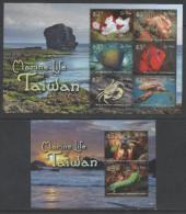 ST. KITTS ,  2015, MNH, MARINE LIFE OF TAIWAN, TURTLES, FISH, CRABS, SHRIMPS, SHEETLET+ S/SHEET - Tortues