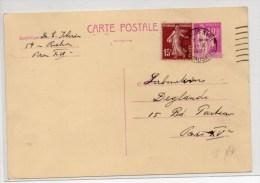 1937 - ENTIER TYPE PAIX Avec AFFRANCHISSEMENT COMPLEMENTAIRE SEMEUSE - Cartes Postales Types Et TSC (avant 1995)