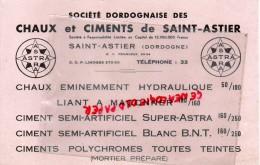24 - SAINT ASTIER - BUVARD SOCIETE DORDOGNAISE DES CHAUX ET CIMENTS- CIMENT- DORDOGNE - ASTRA - Buvards, Protège-cahiers Illustrés