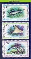 Nbm0491 FAUNA VISSEN ROG HAAI SHARK RAY CONGER FISH FISCHE POISSONS MARINE LIFE GRENADA 1979 PF/MNH - Mundo Aquatico