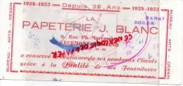 63 - CLERMONT FERRAND - BUVARD PAPETERIE J. BLANC - 9 RUE PH. MARCOMBES - 1928-1953- DESSIN - ARTS -BUREAU - Papeterie